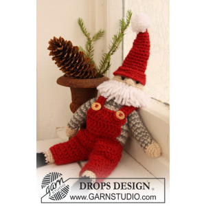 Santa Claus by DROPS Design - Julenisse Hekleoppskrift 35 cm
