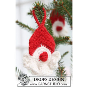 Red Nose Santa by DROPS Design - Julenisse Hekleoppskrift 8 cm