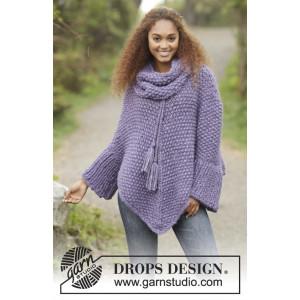 Lavender Grove by DROPS Design - Poncho Strikkeoppskrift str S - XXXL