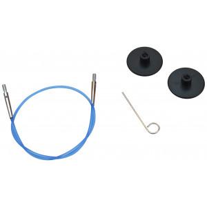 KnitPro Wire / Kabel til Utskiftbare Rundpinner 28cm (Blir 50cm inkl. pinner) Blå