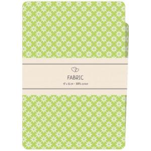 Go handmade Fat quarter / Patchworkstoff Bomull Grønn med hvite blomster - 47x55cm