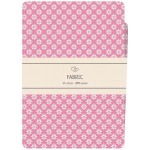 Go handmade Fat quarter / Patchworkstoff Bomull Pink med hvite blomster - 47x55cm