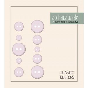 Go handmade Plast Knapper Str. 9, 11 & 13mm Beige - 10 stk