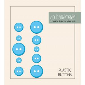 Go handmade Plast Knapper Str. 9, 11 & 13mm Blå - 10 stk