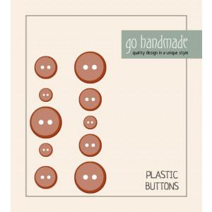 Go handmade Plast Knapper Str. 9, 11 & 13mm Brun - 10 stk