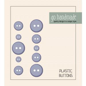 Go handmade Plast Knapper Str. 9, 11 & 13mm Grå - 10 stk