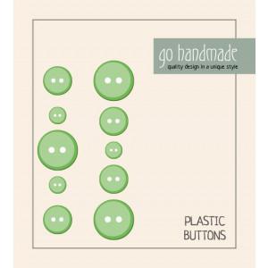 Go handmade Plast Knapper Str. 9, 11 & 13mm Grønn - 10 stk