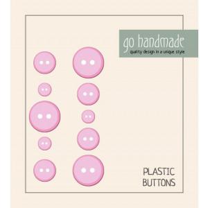 Go handmade Plast Knapper Str. 9, 11 & 13mm Pink - 10 stk