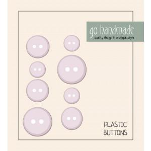 Go handmade Plast Knapper Str. 11, 15 & 20mm Beige - 8 stk