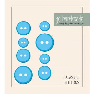 Go handmade Plast Knapper Str. 11, 15 & 20mm Blå - 8 stk