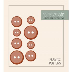 Go handmade Plast Knapper Str. 11, 15 & 20mm Brun - 8 stk