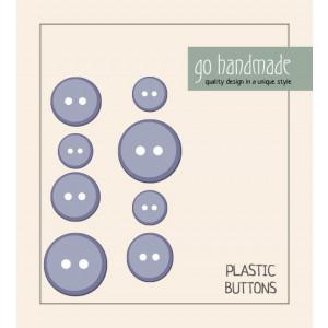 Go handmade Plast Knapper Str. 11, 15 & 20mm Grå - 8 stk