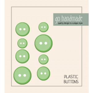 Go handmade Plast Knapper Str. 11, 15 & 20mm Grønn - 8 stk