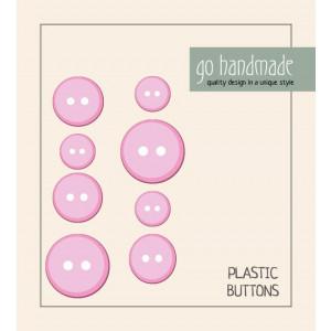 Go handmade Plast Knapper Str. 11, 15 & 20mm Pink - 8 stk