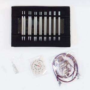 KnitPro Nova Metall Utskiftbare rundpinnesett Messing 60-80-100 cm 3,5-8 cm 8 størrelser Deluxe i Etui