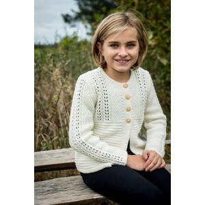 Mayflower Jentegenser med hullmønster - Cardigan Strikkekit str. 4 år - 12 år