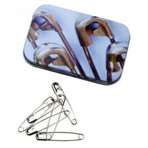 Sikkerhetsnåler i dåser 100 stk. i størrelser 28, 32, 38 og 46 mm