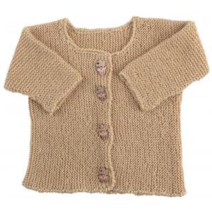 Go handmade Baby Cardigan Valnøtt - Cardigan Strikkekit str. nyfødt - 6 mdr