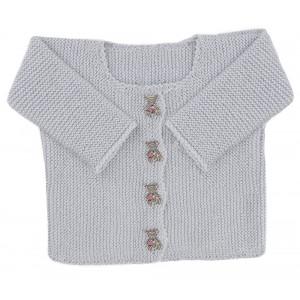 Go handmade Baby Cardigan Lysegrå - Cardigan Strikkekit str. nyfødt - 6 mdr
