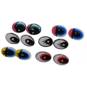 Infinity Hearts Sikkerhetsøyne med makeup Ass. farger 21x17mm 6 sett - Uten sikkerhetslås