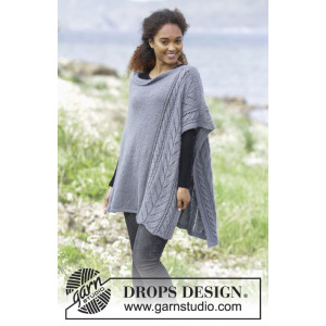 Cloudy Day by DROPS Design - Poncho Strikkeoppskrift str. S - XXXL