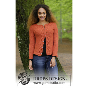 Autumn Vines Cardigan by DROPS Design - Jakke Strikkeopskrift str. S - XXXL