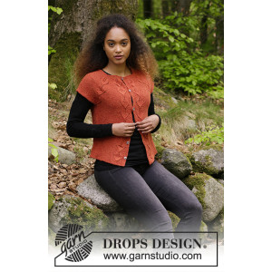 Autumn Vines Top by DROPS Design - Jakke Strikkeoppskrift str. S - XXXL