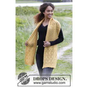 Dreamy Daffodil by DROPS Design - Halstørklæde Strikkeopskrift 156x35 cm