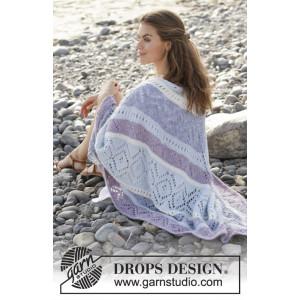 Liljesjalby DROPS Design - Sjal Strikkeoppskrift 104x208 cm