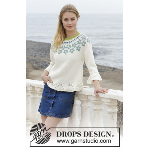 Myosotis by DROPS Design - Bluse Strikkeoppskrift str. S - XXXL