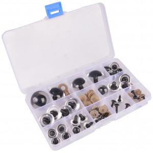 Infinity Hearts Sikkerhetsøyne/Amigurumi øyne i plastboks Klar 8-30mm - 18 par