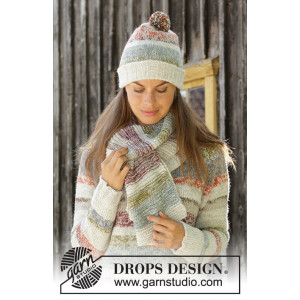 Fading Sunsetby DROPS Design - Lue og Halstørkle Strikkeoppskrift str. S - L