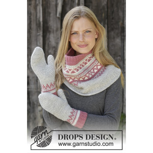 Hint of Heather Set by DROPS Design - Hals og Vanter Strikkeoppskrift str. S/M - M/L