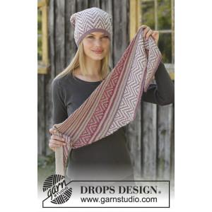 Purple Wayby DROPS Design - Lue og Sjal Strikkeoppskrift str. S - L