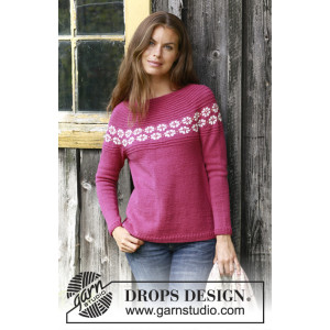 Daisy Delight by DROPS Design - Bluse Strikkeoppskrift str. S - XXXL