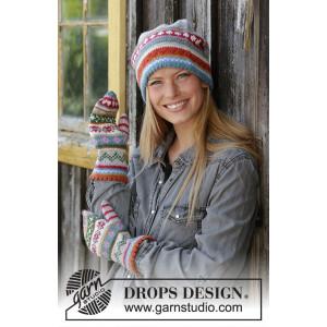 Happy Winter by DROPS Design - Lue og Vanter Strikkeoppskrift str. S/M - M/L