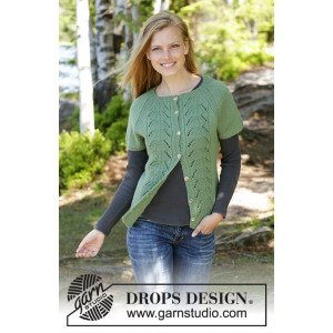 Green Luck Cardi by DROPS Design - Vest Strikkeoppskrift str. S - XXXL