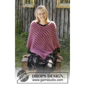 Malina by DROPS Design - Poncho Hekleoppskrift str. S - XXXL