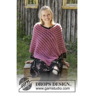 Malina by DROPS Design - Poncho Hekleoppskrift str. S - XXXL