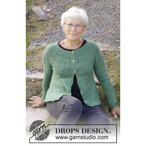 Green Echo Jacket by DROPS Design - Jakke Strikkeoppskrift str. S - XXXL