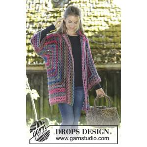 Granny Glam by DROPS Design - Jakke Hekleoppskrift str. S - XXXL