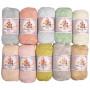 Mayflower Cotton 8/4 Junior Pastell Garnpakke Ass. farger - 10 nøkler