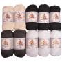 Mayflower Cotton 8/4 Sort/Hvit Garnpakke Ass. farger - 10 nøster