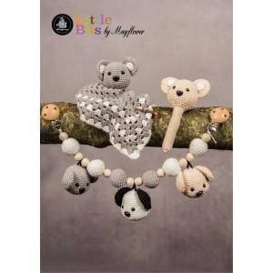 Mayflower Little Bits Babysett med Bamser - Raslebamse, Koseklut og Barnevognskjede Hekleoppskrift