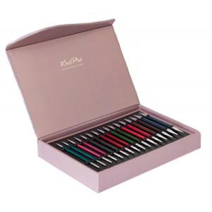 KnitPro Rundpinnesett i Tre Royalé med utskiftbare wirer 8 størrelser 3 lengder Limited Edition