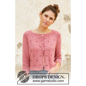 Raspberry Kiss by DROPS Design - Jakke Strikkeoppskrift str. S - XXXL