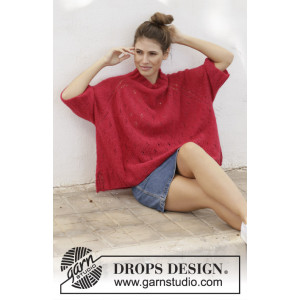 Strawberry Swing by DROPS Design - Genser Strikkeoppskrift str. S - XXXL