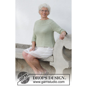 Summer Evening Jumper by DROPS Design - Genser Strikkeoppskrift str. S - XXXL