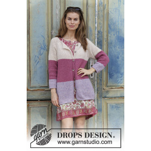 Lavender Rose by DROPS Design - Jakke Strikkeoppskrift str. S - XXXL