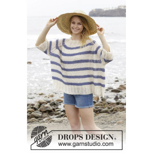 Riviera Stripes av DROPS Design - Bluse Strikkeoppskrift str. S - XXXL